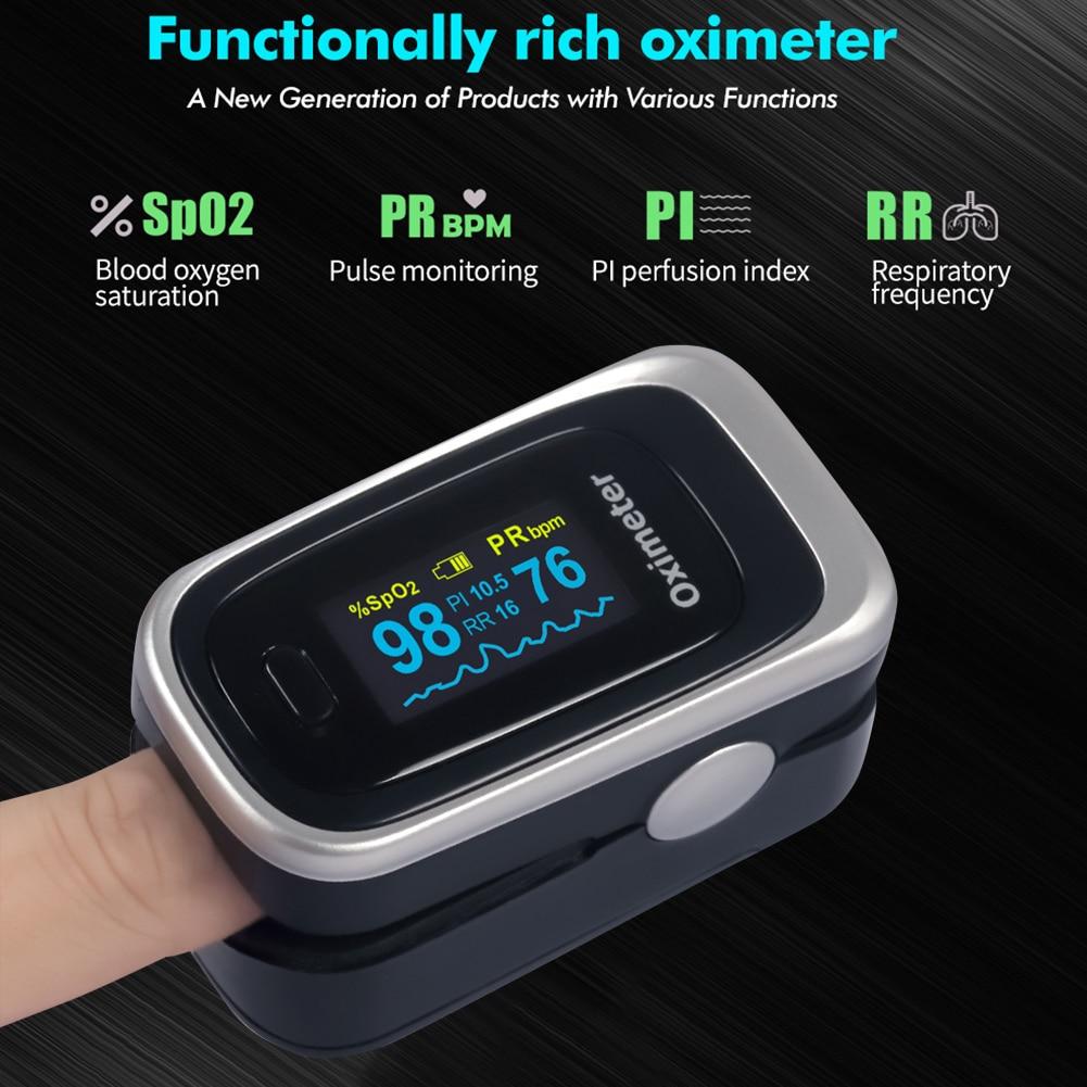 Finger Pulse Oximeter OLED Display Pulse Oximeter Blood Oxygen Saturation SpO2 Monitor Blood Pressure Meter Heart Rate Detector