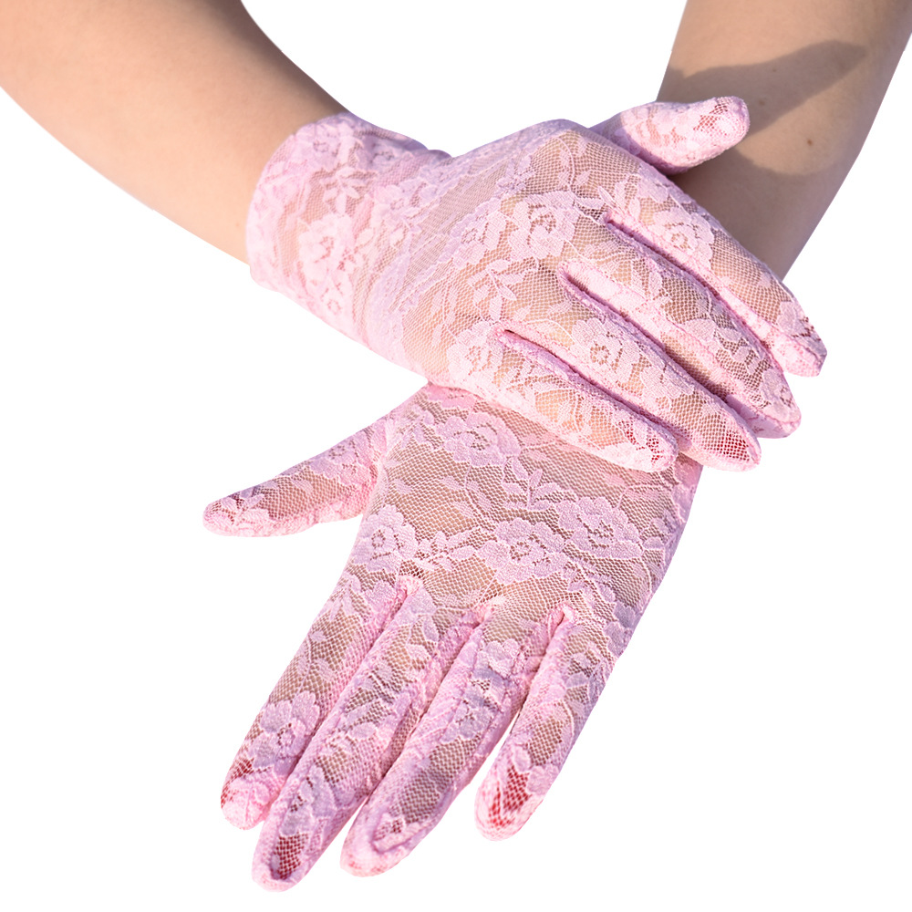 6 Colors Beige Gray Women's Party Formal Gloves Short Pink Lace Gloves Driving Dress With Gloves Purple Wedding Gloves ST387