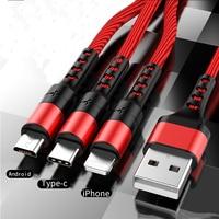 Cavo USB dati 3in1 per iPhone cavo di ricarica per caricabatterie rapido per telefono Android tipo c xiaomi huawei cavo caricabatterie Samsung per iPad