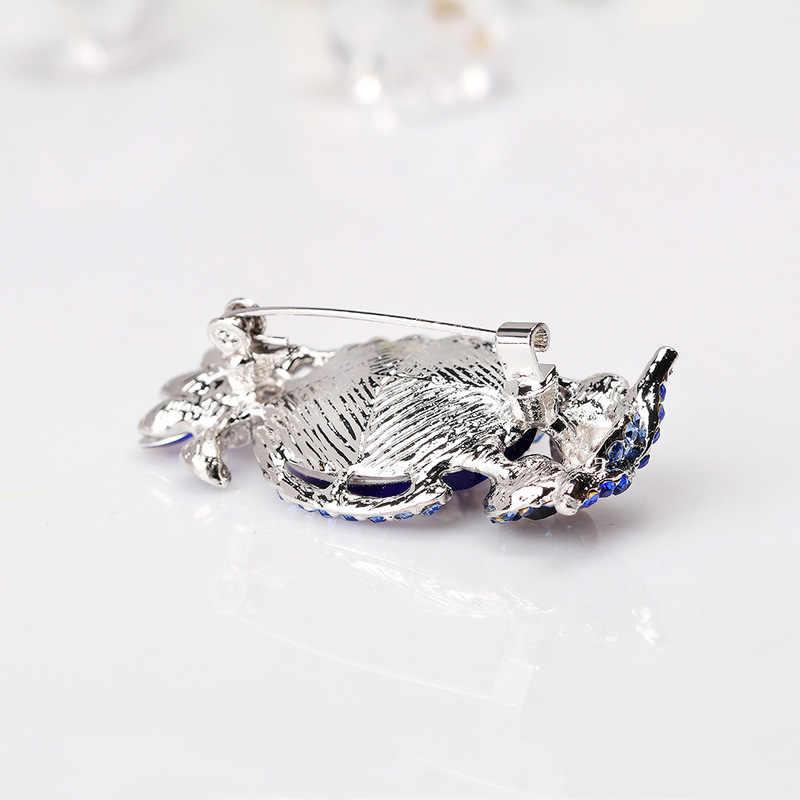 Trendi Indah Berlian Imitasi Biru Burung Hantu Bros Pin Wanita Pria Fashion Lucu Burung Paket Pakaian Hat Syal Korsase Perhiasan Aksesoris