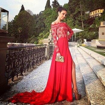 цена на платье женское 2020 Free Shipping Vestidos Longos Formatura long sleeves lace and chiffon Woman Elegant Bespoke Occasion Dresses