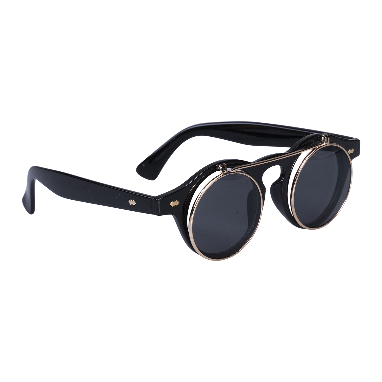 Summer Swim Eyewear Glasses Men Women Retro Flip Up Round Sunglasses Vintage Black