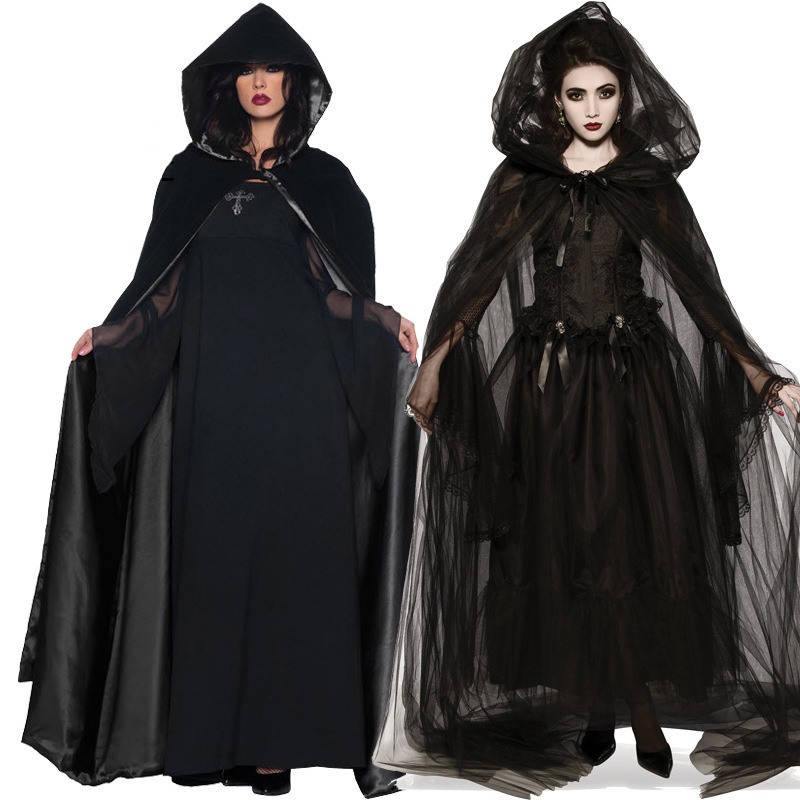 BLACK HOODED CAPE HALLOWEEN FANCY DRESS ADULT COSTUME DEATH REAPER DEMON VAMPIRE
