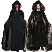 New Halloween Women Death Hell Witch Devil Vampire Uniform Black Long Dress Party Cosplay Day Of The Dead Opera Costume VDB1061