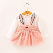 Hot Sale Children's clothing 2020 new Korean version of the fake two-piece girl dress fashion baby cartoon rabbit dress 2-4Y korean version of slim fashion in the big girl child sweat breathable spring new girl dress for3 13t