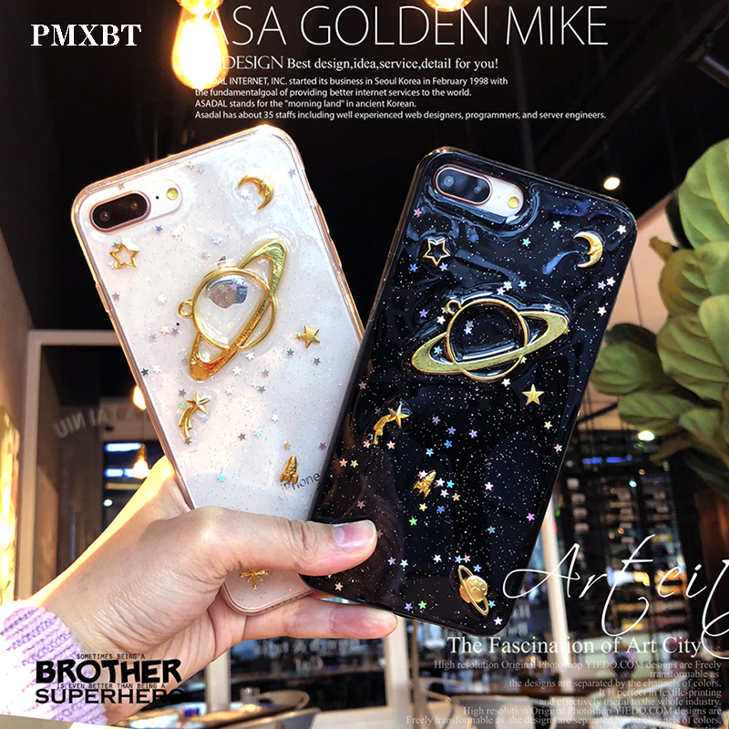Mobile Phone Case For iPhone X XS Max XR Soft TPU Fashion Glitter Space planet Cover 7 8 6 6s Plus Coque