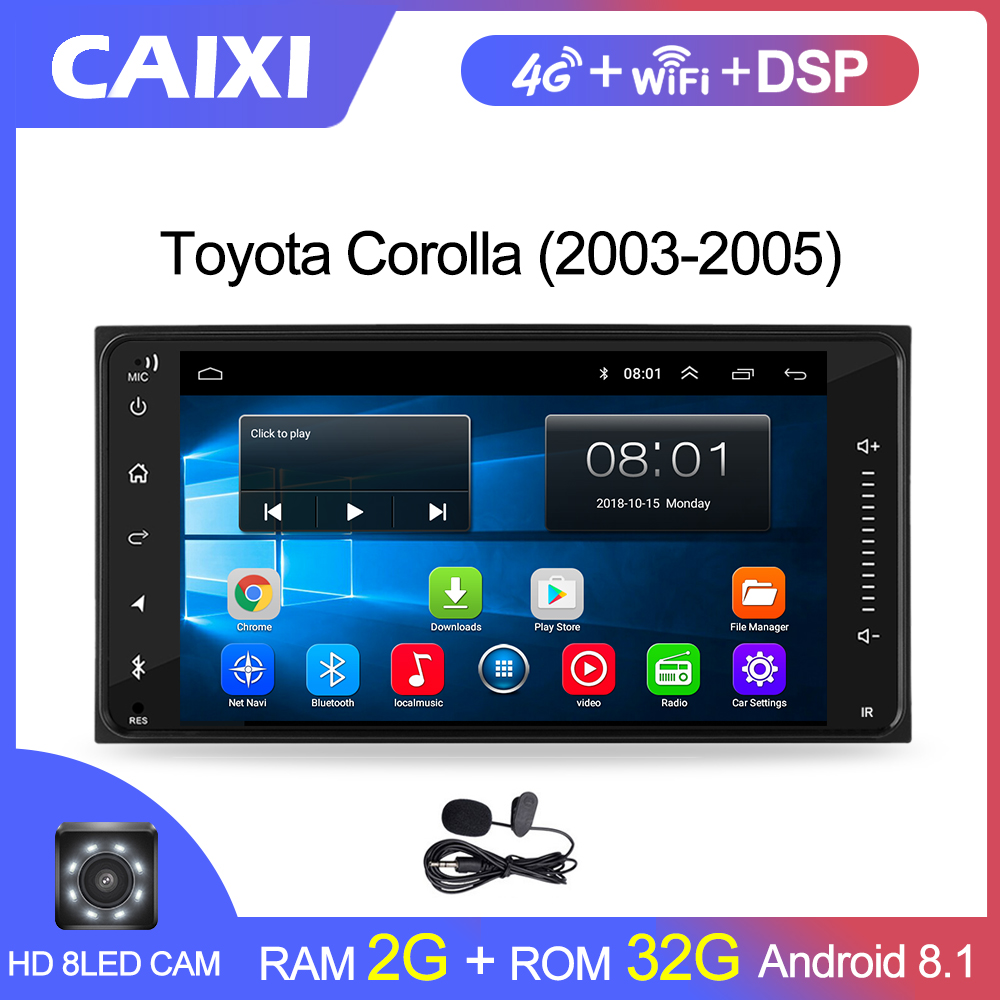 <font><b>2din</b></font> Universal <font><b>android</b></font> 8.1 Car Radio Player Stereo Car Multimedia Player for toyata COROLLA VIOS CROWN CAMRY HIACE PREVIA RAV4 image