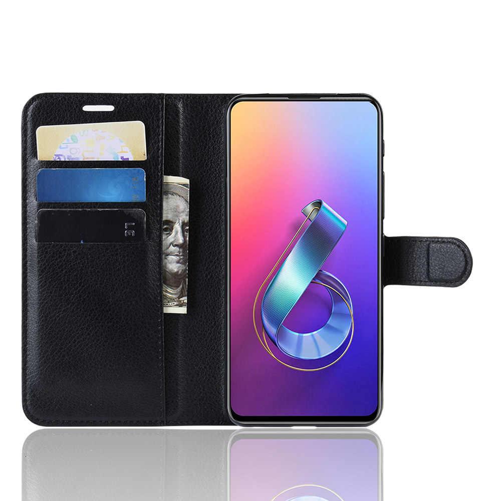 電話ケース Asus の Zenfone 5 6 ZS630KL フリップ Pu レザー裏表紙シリコンケーススマートフォン財布バッグ Coque Fundas ケース