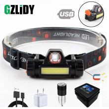 Waterproof LED headlamp COB work light 2 light mode with magnet headlight built-in 18650 battery suit for fishing, camping, etc.(China)
