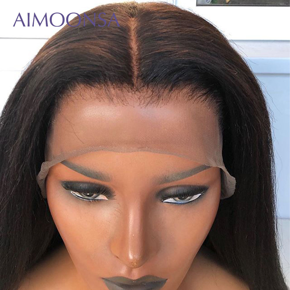 HD прозрачное кружево яки прямые парики 13*6 кружева фронта человеческих волос парики предварительно сорвал с волосами младенца парики для че... - 4
