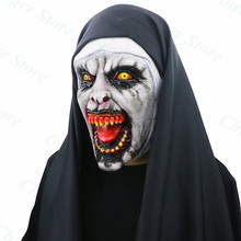 The Nun Horror Mask Cosplay Valak Scary Latex Masks with Headscarf Veil Hood Full Face Helmet Costume Halloween Prop