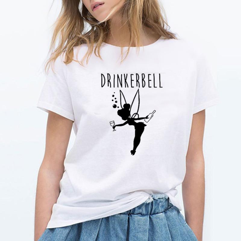 Mode femmes T-shirt lettre imprimé buveur cloche drôle T-shirt à manches courtes fille impression été hauts Harajuku Haut Femme t-shirts