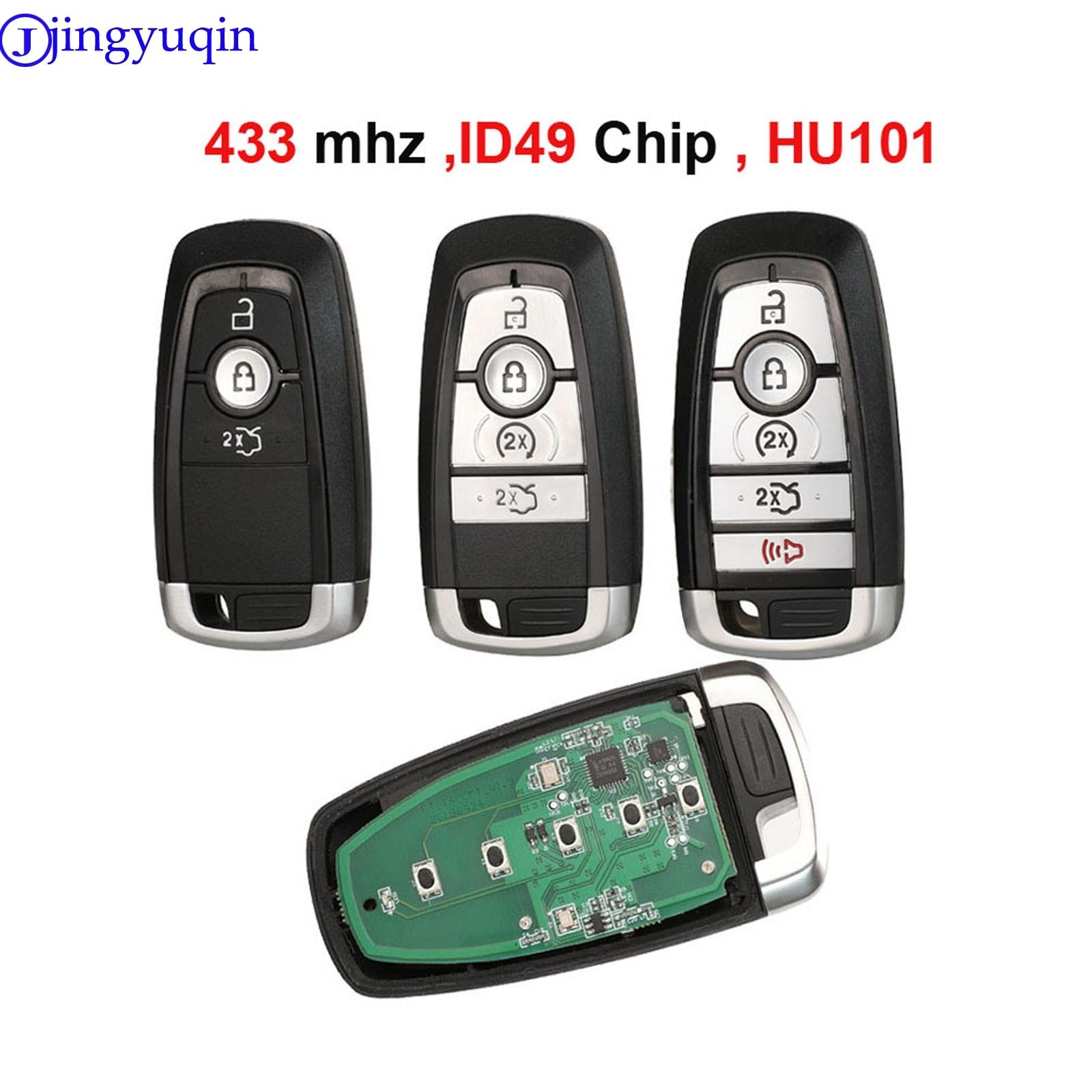 Jingyuqin 433/868/902mhz ID49 Chip Key HU101 Blade Prox Key Insert For Ford Fusion F-250 F-350 F-450 F-550 2017 M3N-A2C93142600