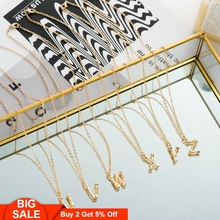 Fever&Free Trend Jewelry 26 Initial Letters Pendant Necklace Gold Chain Alphabet Name Female Girls Gifts Bijoux
