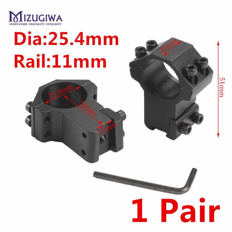 MIZUGIWA, anillo de montaje de alta mira de 25,4mm para Weaver Picatinny, Riel de 11mm para Mira óptica, Rifle, pistola, pistola de Airsoft, Caza