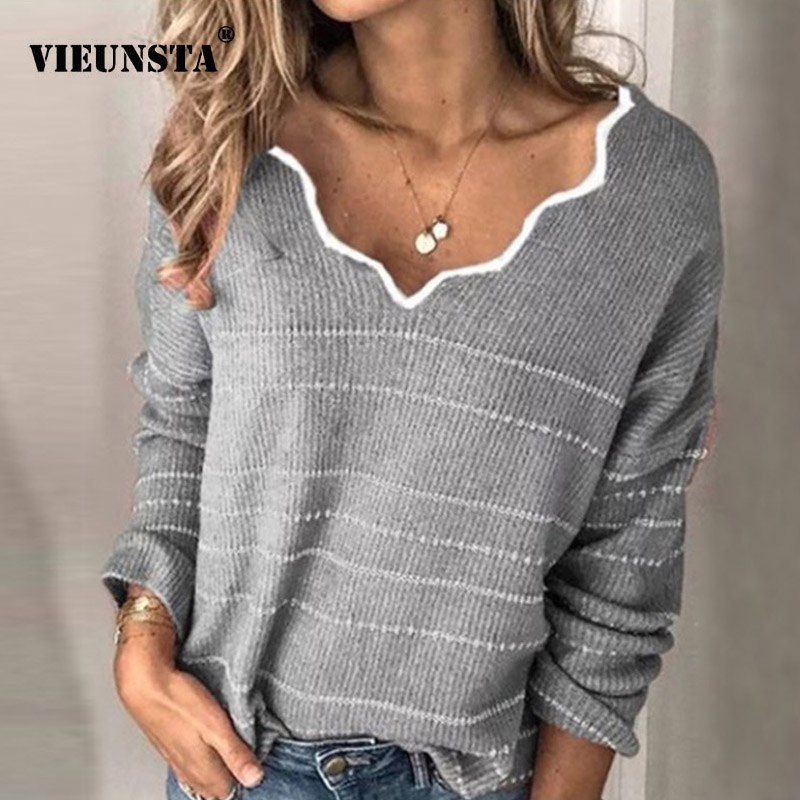 Women Knitted Sweater 2019 Winter Autumn Long Sleeve Warm Pullover Sweater Casual V-neck Striped Female Tops Jumper Dropshipping