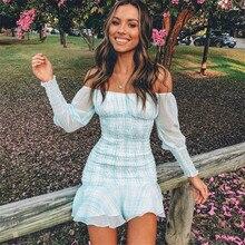 2019 New Women Fashion Sexy Dress Slash Neck Plaid Light Blue Long Sleeve Vestidos Casual