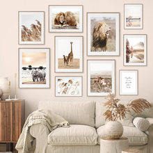 Reed Lion Elephant African Animals Beige Nordic Posters And Prints Wall Art Canvas Painting Wall Pictures For Living Room Decor