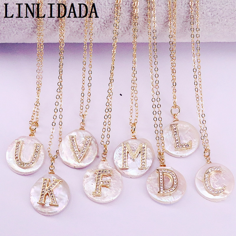 12Pcs  cz micro paved gold Initial letter charm white round coin  pearl bead pendant necklace for womenChoker Necklaces