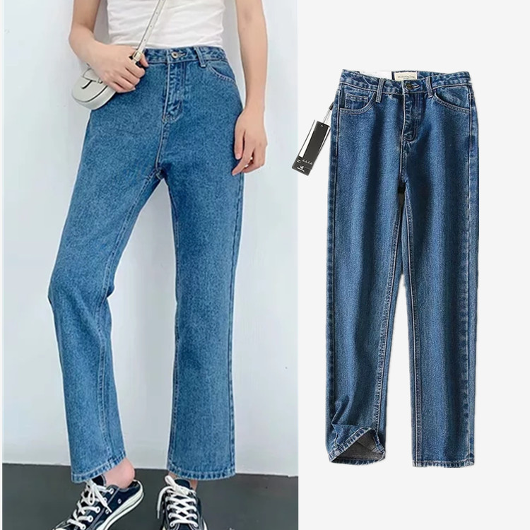Women's Clothing Pants 2019 Autumn New Style Versitile Fashion High-waisted Straight-Cut Jeans