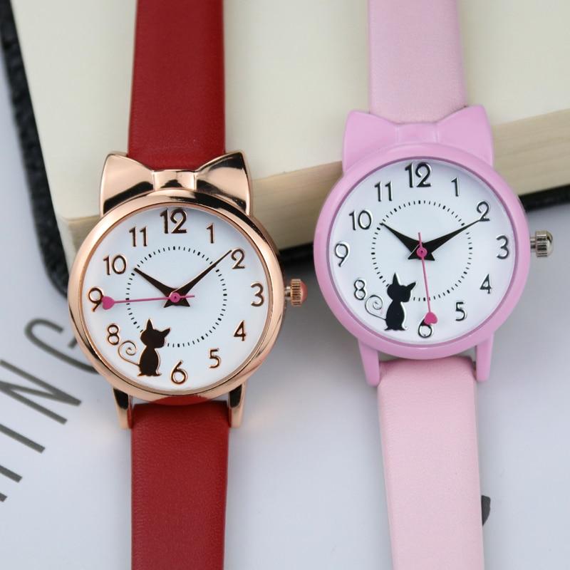 Милый Дети Часы Кожа Ремешок Уютный Дети Часы% 2B Коробка +% 2B Розовый Браслет Комплект Девочки Подарок Мода Наручные часы Прекрасный