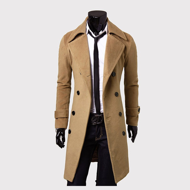 2019 Men Woolen Coat Solid Casual Turn Down Collar Coat Winter Thick Warm Double Breasted Wool Coats Male Fashion Outerwear D40