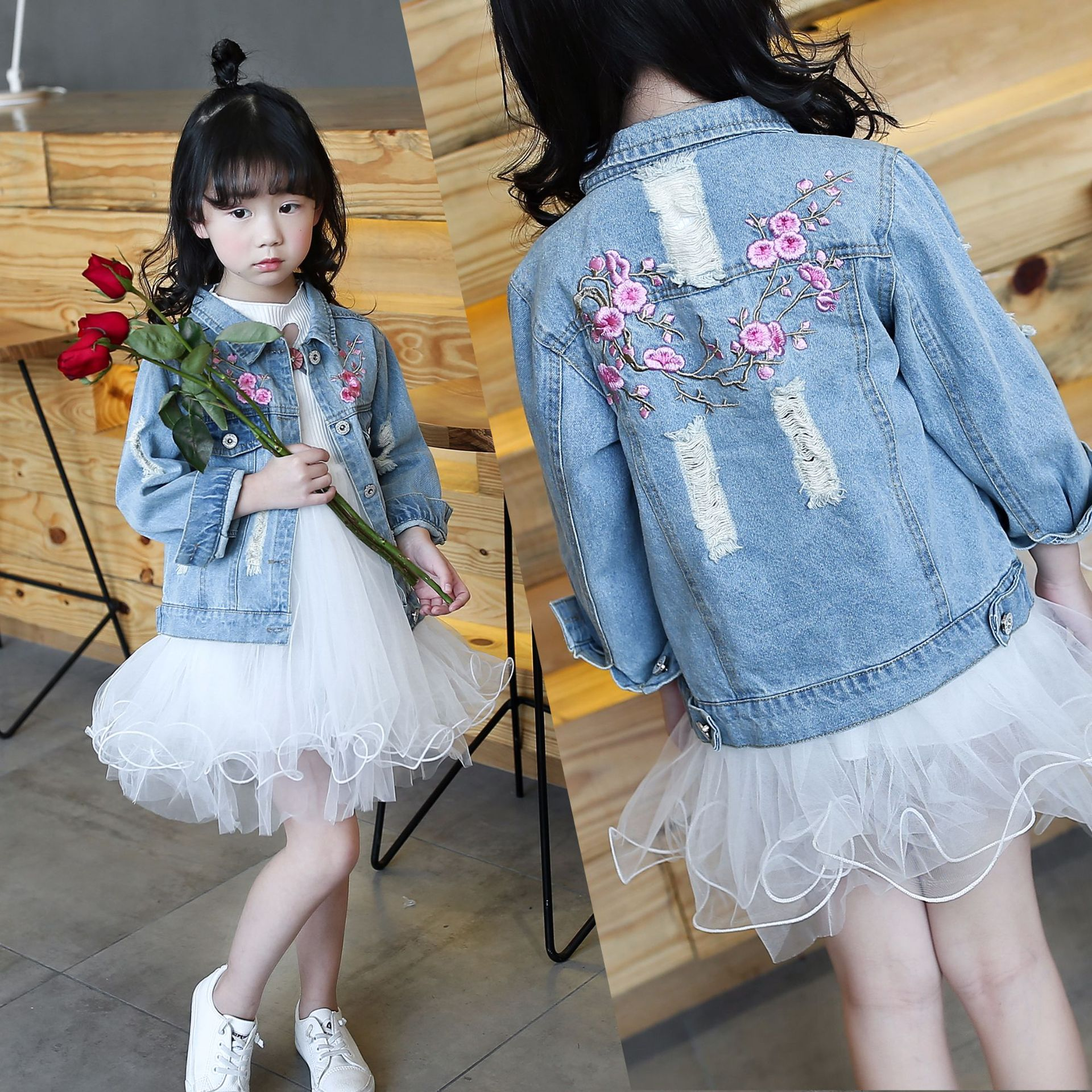 Children's Denim Jacket for Girls Spring Toddler Kids Embroidery Casual Hole Jeans Coat Outfits Girls Clothes 4 5 6 8 10 12 Year