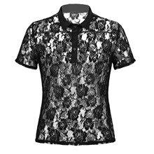 Men's Clothing Transparent Shirts Costumes Short-Sleeve Lace Nightclub Mesh Lapel Tops