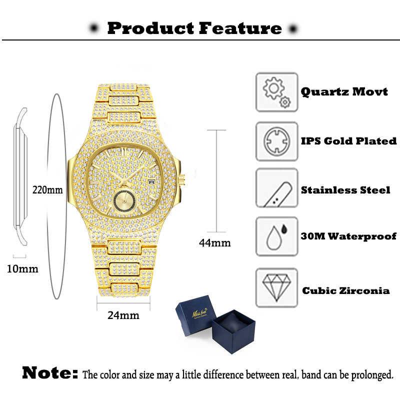 Missfox นาฬิกาผู้ชายแบรนด์หรูขาย Patek ยอดนิยม Rose Gold นาฬิกาผู้ชายควอตซ์ Chronograph Diamond Steel นาฬิกาของขวัญกล่อง