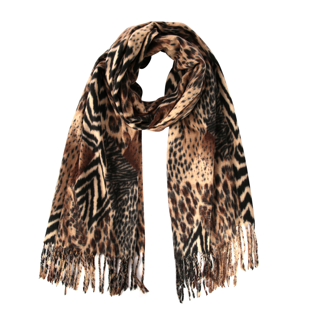 SHAWL,SHOULDER WRAP WITH TASSLES WOMEN IVORY//GOLD LEOPARD ANIMAL PRINT  SCARF