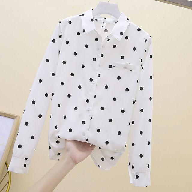 2021 New Summer Vintage Polka Dot Women Blouse Plus Size 4XL Loose Casual White Shirts Elegant Long Sleeve Female Chiffon Tops 6
