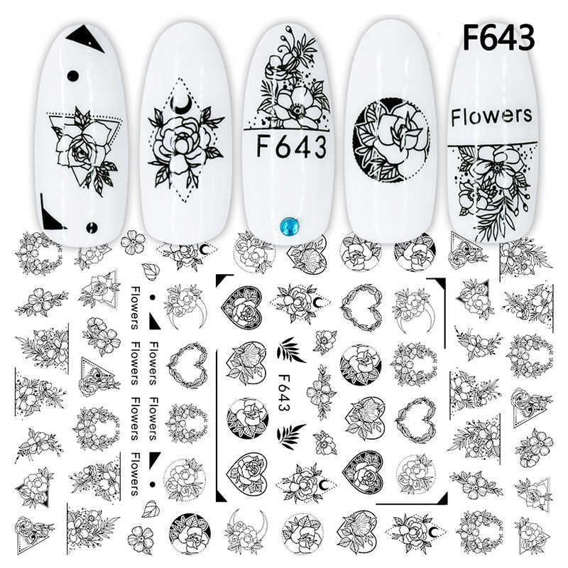 3D tırnak etiket çıkartmaları Wreath aşk çiçekler tasarım Nail Art süslemeleri çıkartmalar kaydırıcılar manikür aksesuarları çivi Decoraciones