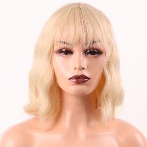 Image 5 - MERISI saç kısa su dalga sentetik saç turuncu kırmızı renkler mevcut peruk kadınlar için ısıya dayanıklı iplik günlük yanlış saç