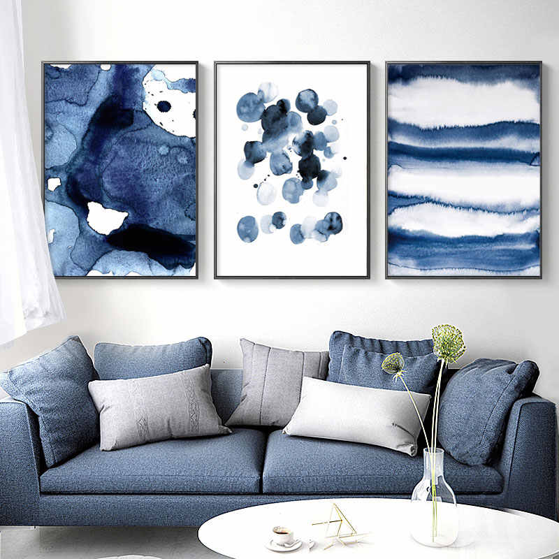 Blue Watecolor Canvas Art Posters and Prints Abstract Painting Nordic Minimalism Wall Pictures for Living Room Modern Home Decor