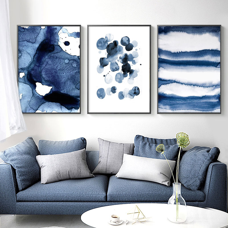 Blue Watecolor Canvas Art Posters and Prints Abstract Painting Nordic Minimalism Wall Pictures for Living Room Modern Home Decor title=