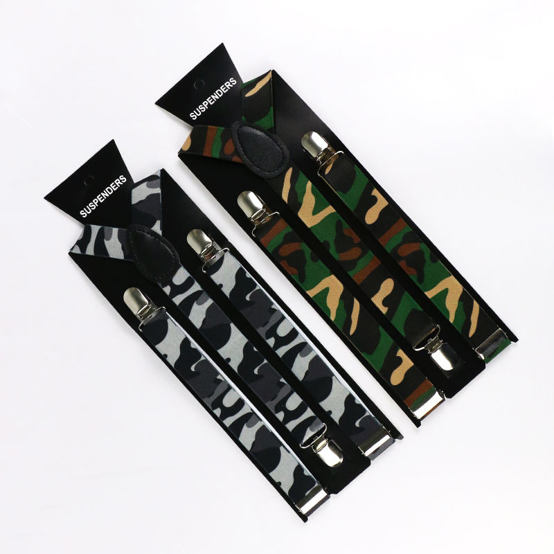 Winfox Camo Mens Trouser Suspenders 1 Inch Wide Y-Shape Army Green Camouflage Suspenders Mens Braces