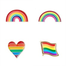 Brooches Pin Jewelry Badge Gay-Pins Rainbow Lesbian Lapel Pride Enamel Love Rose Flower