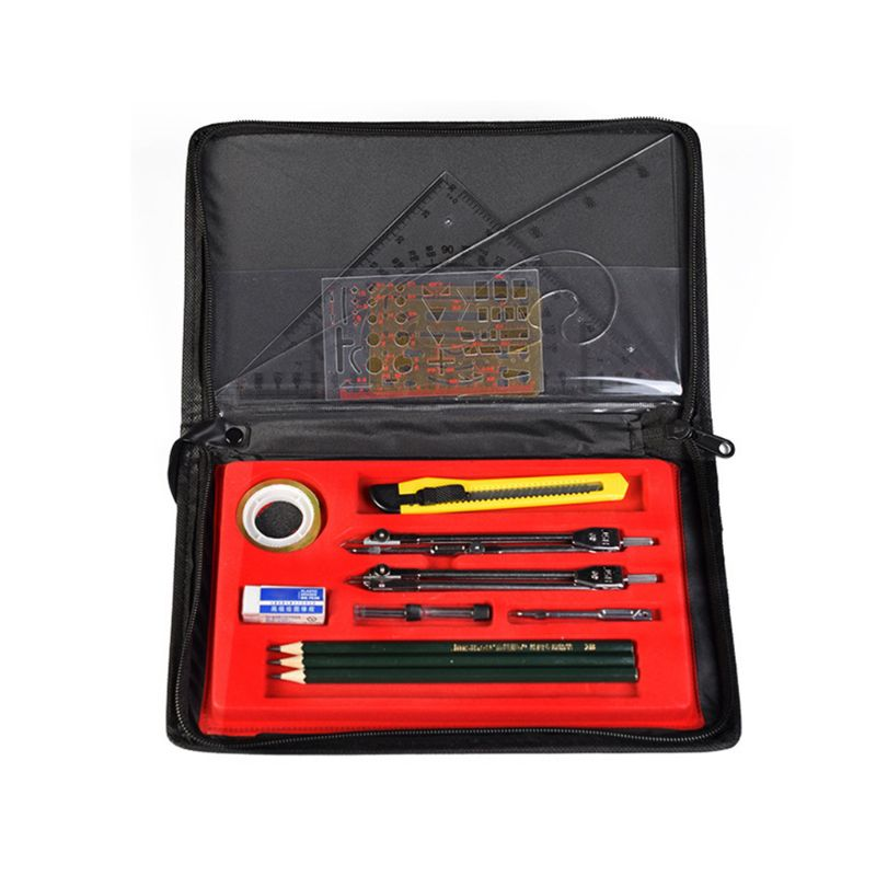16pcs/set Drafting Compass Set Drawing Templates Pencil Student School Supplies