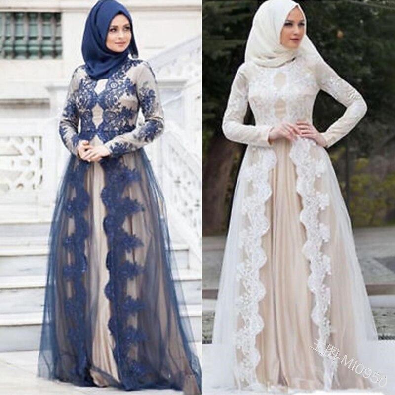 Siskakia Muslim Mesh Lace Stitching Abaya Dress Women Long-sleeved A Line Dresses Evening Party Wears White Dubai Turkey Arabian