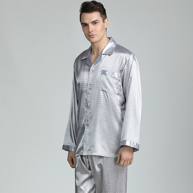 Silk Pajamas for Men Sleepwear V-collar Cozy Soft long sleeve nightgown Tops + Trousers Two Pieces Mens Pajama Set Pajamas Men title=