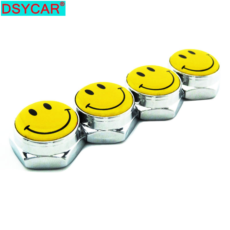 DSYCAR 1 Set Car Accessories Smiling Face Logo Thread License Plate Frame Bolts Universal Screws For Universal Car Styling