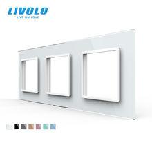 Livolo – Panel de cristal para 3 interruptores de pared. C7-3SR-11, Zócalo de enchufe estándar europeo, marco triple, 4 colores