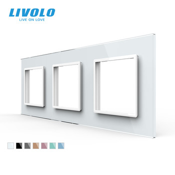 Livolo Luxury White Pearl Crystal Glass,EU standard, Triple Glass Panel For Wall Switch&Socket,C7-3SR-11  (4 Colors)