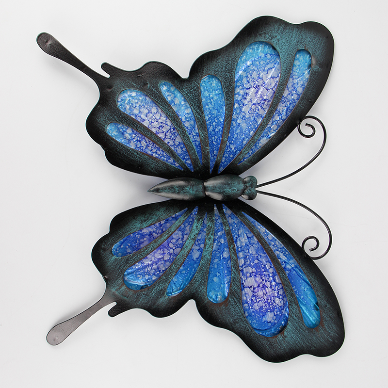 Синий металл бабочка стена произведения искусства для сада украшения миниатюры статуи животные открытый декор и скульптуры