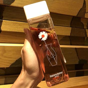 500ML śliczny kwadratowy matowy herbata mleko owocowy kubek wody na butelki na wodę napój z liny przezroczysty Sport koreański styl odporny na ciepło tanie i dobre opinie CN (pochodzenie) dla dorosłych Ekologiczne Na stanie square plastic matte water cup Bezpośrednie picie Wspinaczka Nie posiada