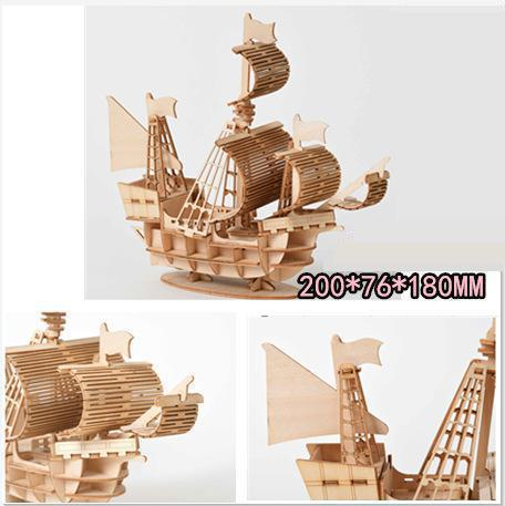 Image 4 - Fancy DIY Sailing Ship Toys 3D Wooden Puzzle Toy Assembly Model Wood Craft Kits Desk Decoration Toys for Children Kids Gift-in Wooden Blocks from Toys & Hobbies