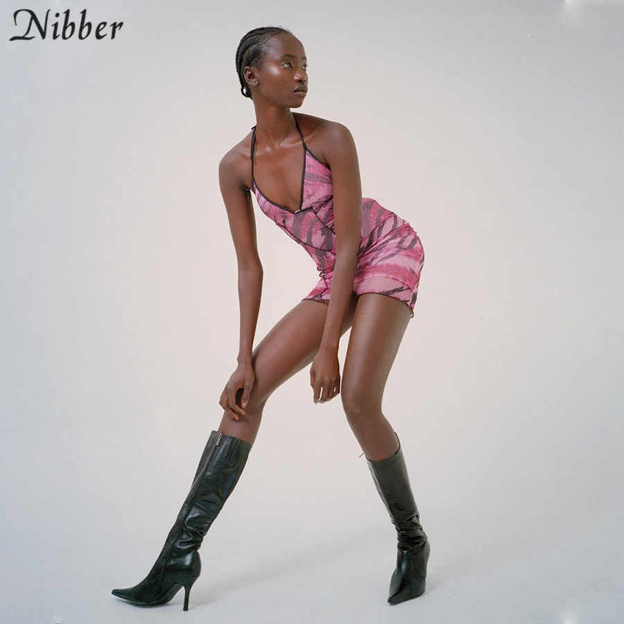 NIBBER, розовое сексуальное летнее праздничное женское мини-платье с бантом, с открытыми плечами, со шнуровкой, Повседневная Домашняя одежда, короткое пляжное клубное мини-платье, Сетчатое