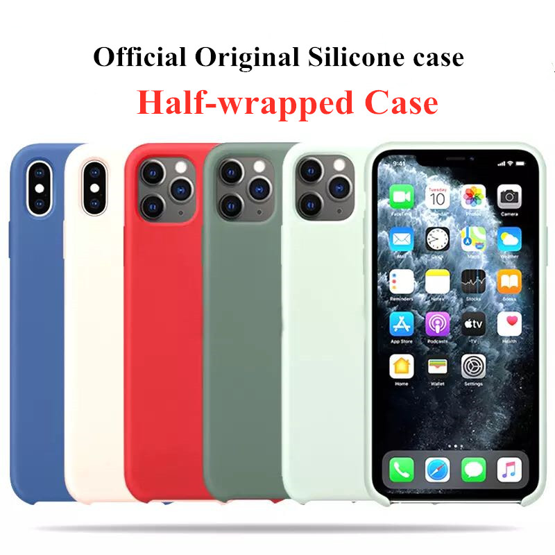 Official Original Silicone Case For iphone 11 12 Pro Max X XS XR 6 6S 7 8 Plus SE 2020 With Retail BOX Phone Cover Liquid Case