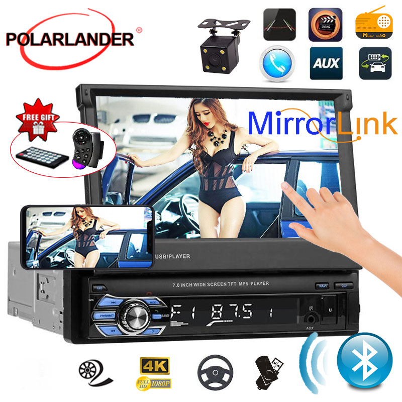 Retractable 1 din Car Radio Support Rear View Camera 7 inch FM Bluetooth HD Touch Screen USB SD AUX-in Mirror Link mp4mp5 player