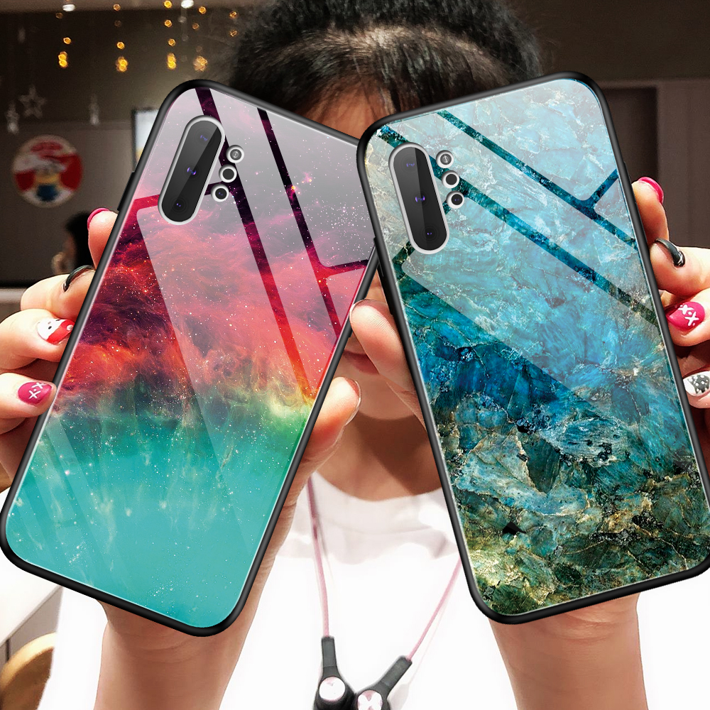Phone Back Cover For Samsung A70 A50 A40 A30 A10 A20 E Case Gradient Tempered Glass Case NOTE 10 S9 S10 PLUS M30 note9 s10e case